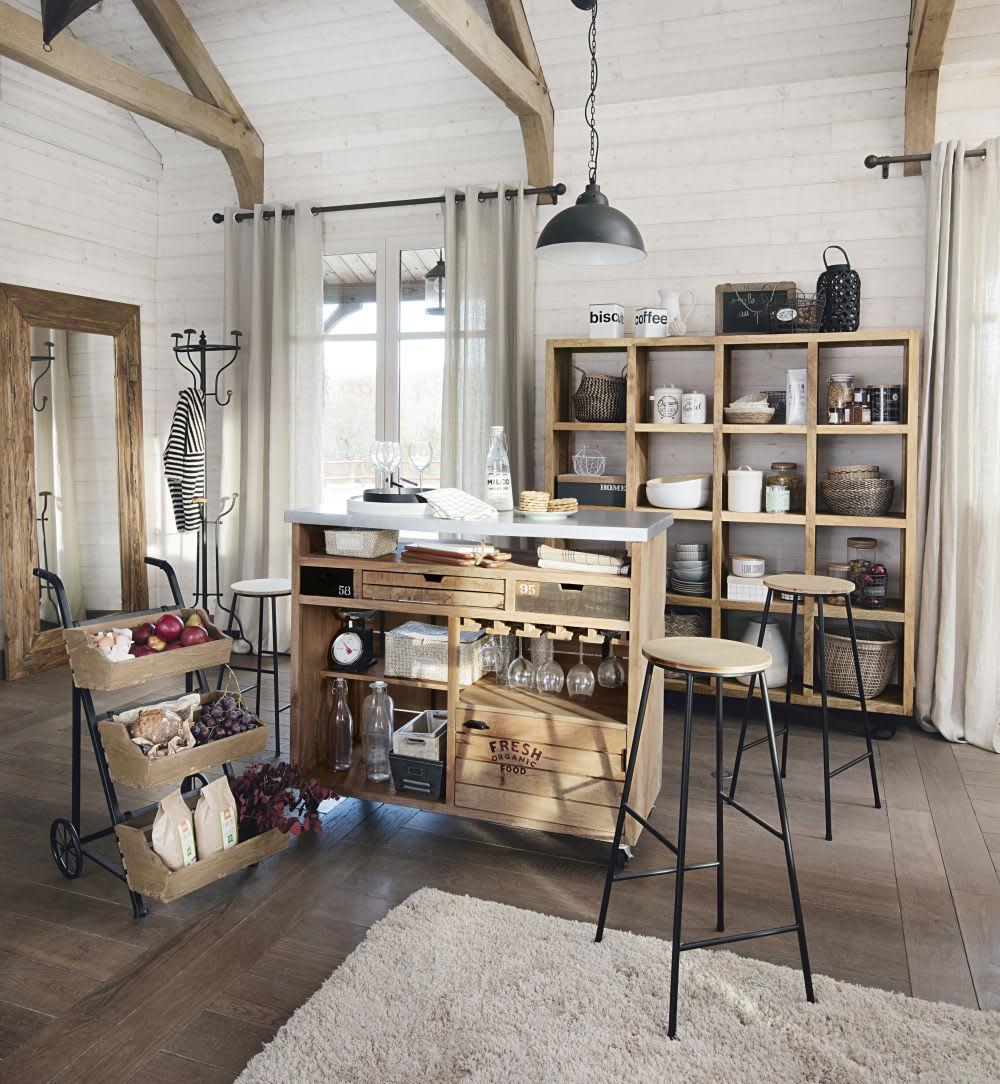 spiegel aus recyceltem teakholz 100x200 woody maisons du. Black Bedroom Furniture Sets. Home Design Ideas