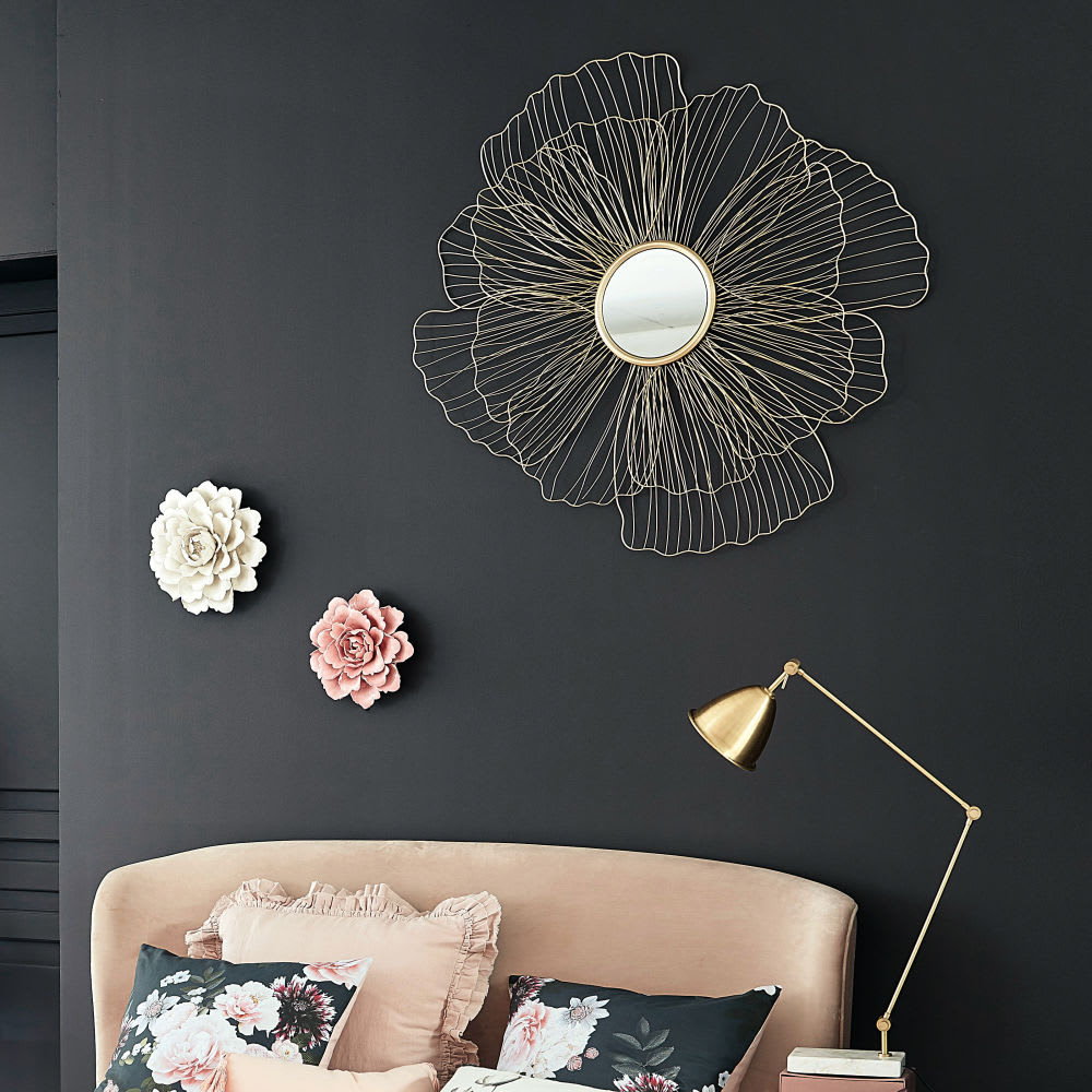 spiegel blume mit goldfarbenem metalldraht rahmen 110x107. Black Bedroom Furniture Sets. Home Design Ideas