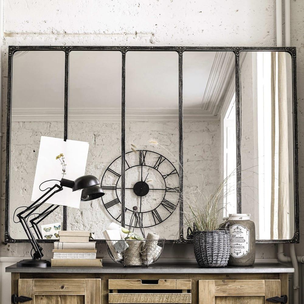 Spiegel Im Industrial Stil Mit Metallrahmen 180x124 Cargo Maisons