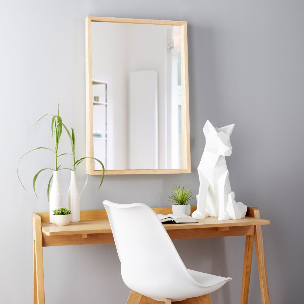 spiegel mit eichenholzrahmen und ablage 60x90 copenhagen. Black Bedroom Furniture Sets. Home Design Ideas