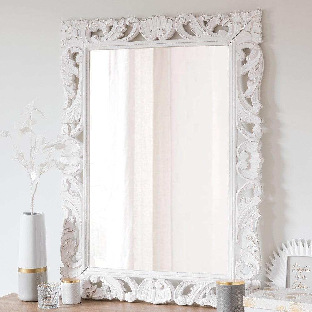 spiegel mit rahmen aus wei em mangoholz 70x96 andawala. Black Bedroom Furniture Sets. Home Design Ideas