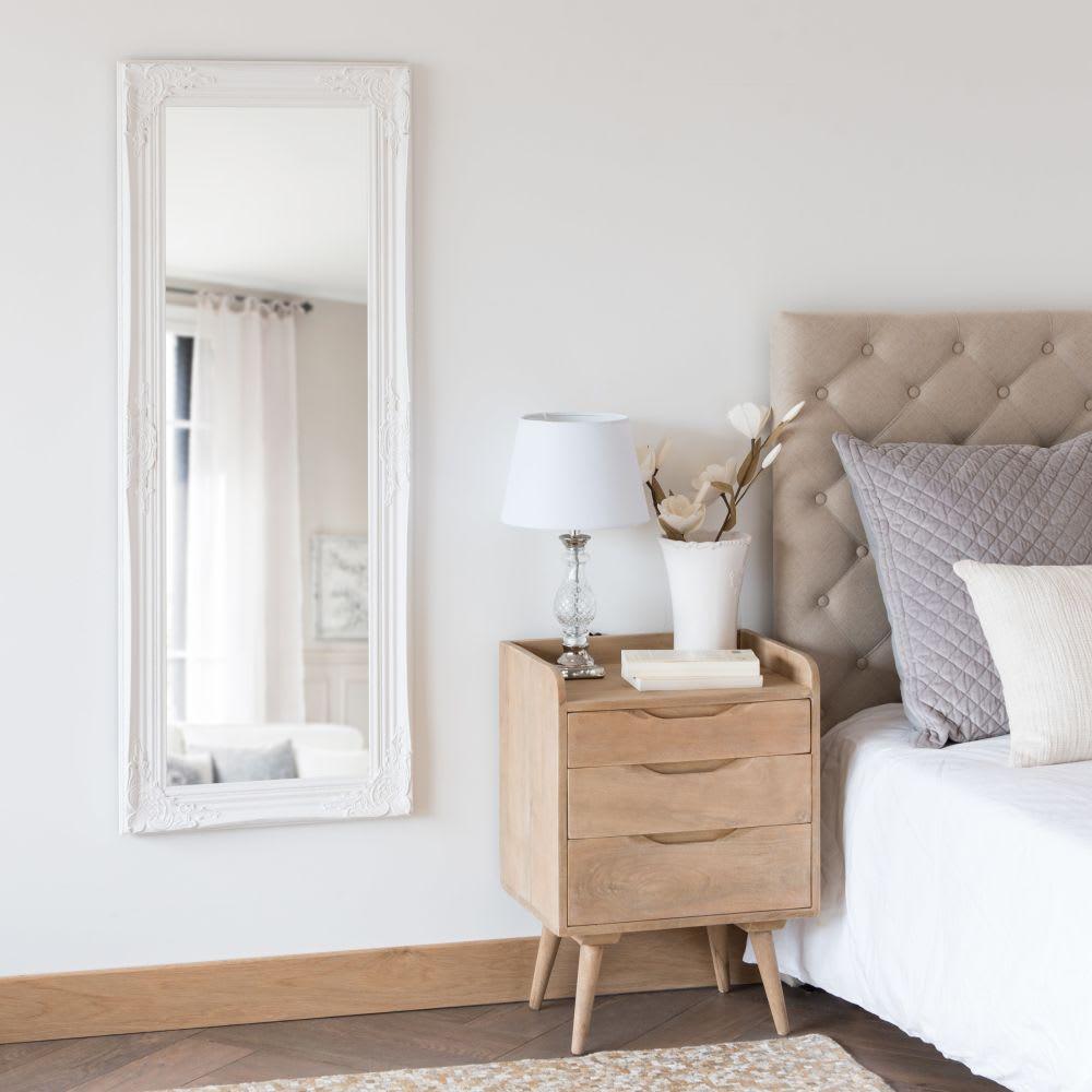 spiegel mit rahmen aus wei em paulownienholz 50x130 enzo. Black Bedroom Furniture Sets. Home Design Ideas