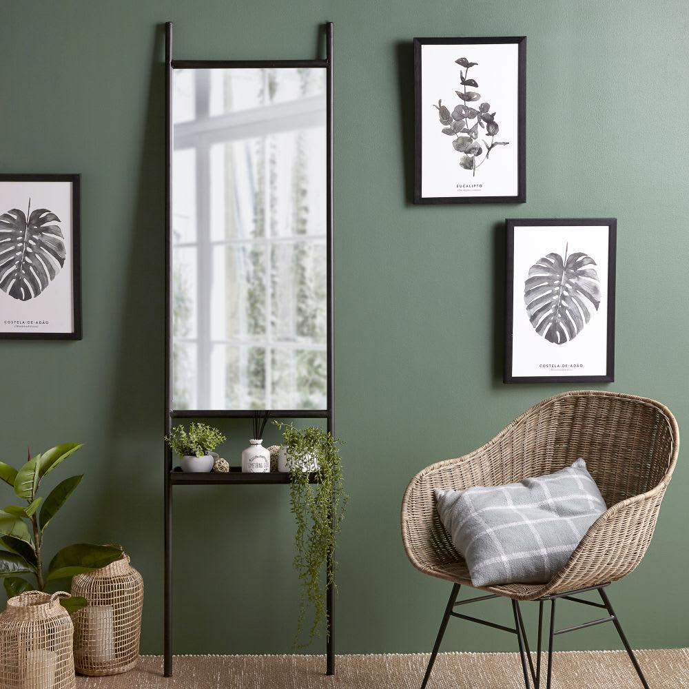 spiegel mit schwarzem metallrahmen und ablage 45x175. Black Bedroom Furniture Sets. Home Design Ideas