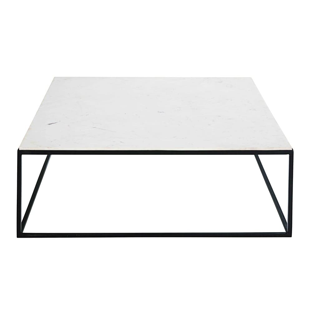 Table Carree Blanche: Square Coffee Table In White Marble And Black Metal Marble