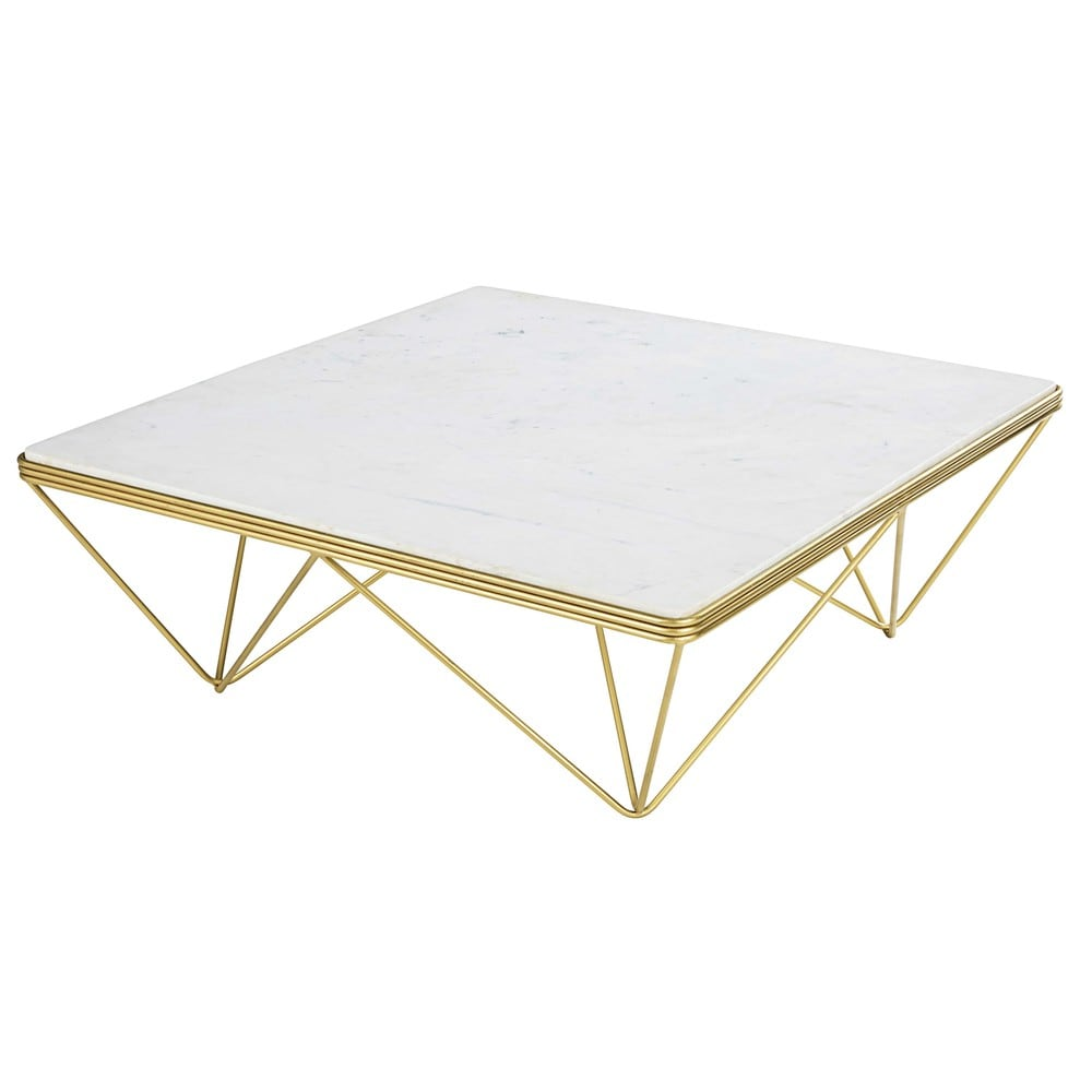 Square Marble And Gold Metal Coffee Table Gatsby Maisons Du Monde