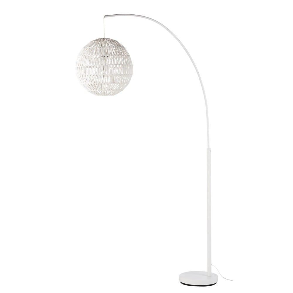 Staande Lamp Van Wit Metaal Met Lampenkap Van Touw H 200 Cm Noumea