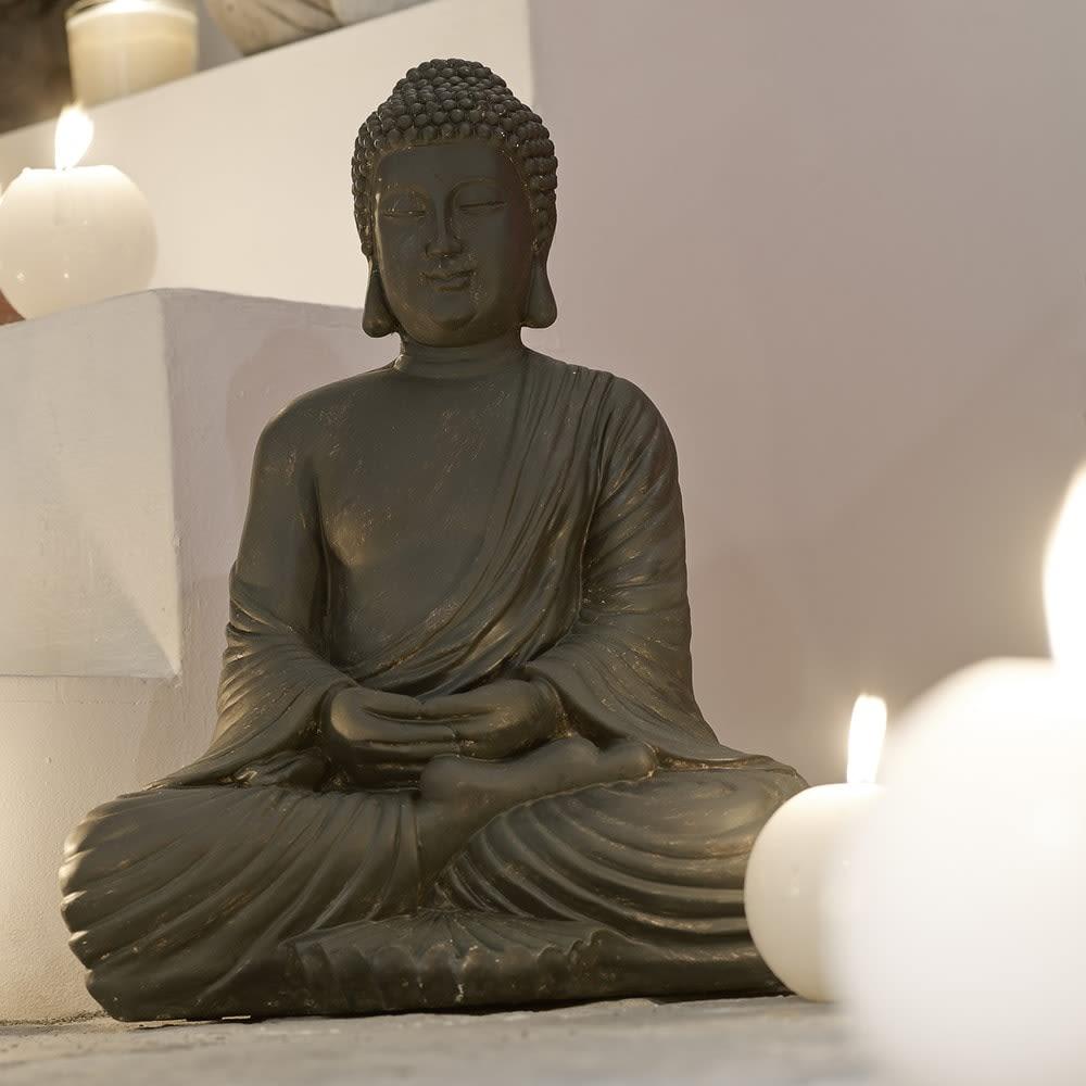 Statue Bouddha Assis En Resine Marron H 42 Cm Maisons Du Monde