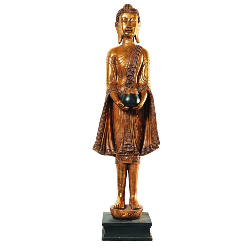 Statue Bouddha Debout En Resine Doree H 142 Cm Wayan Maisons Du Monde