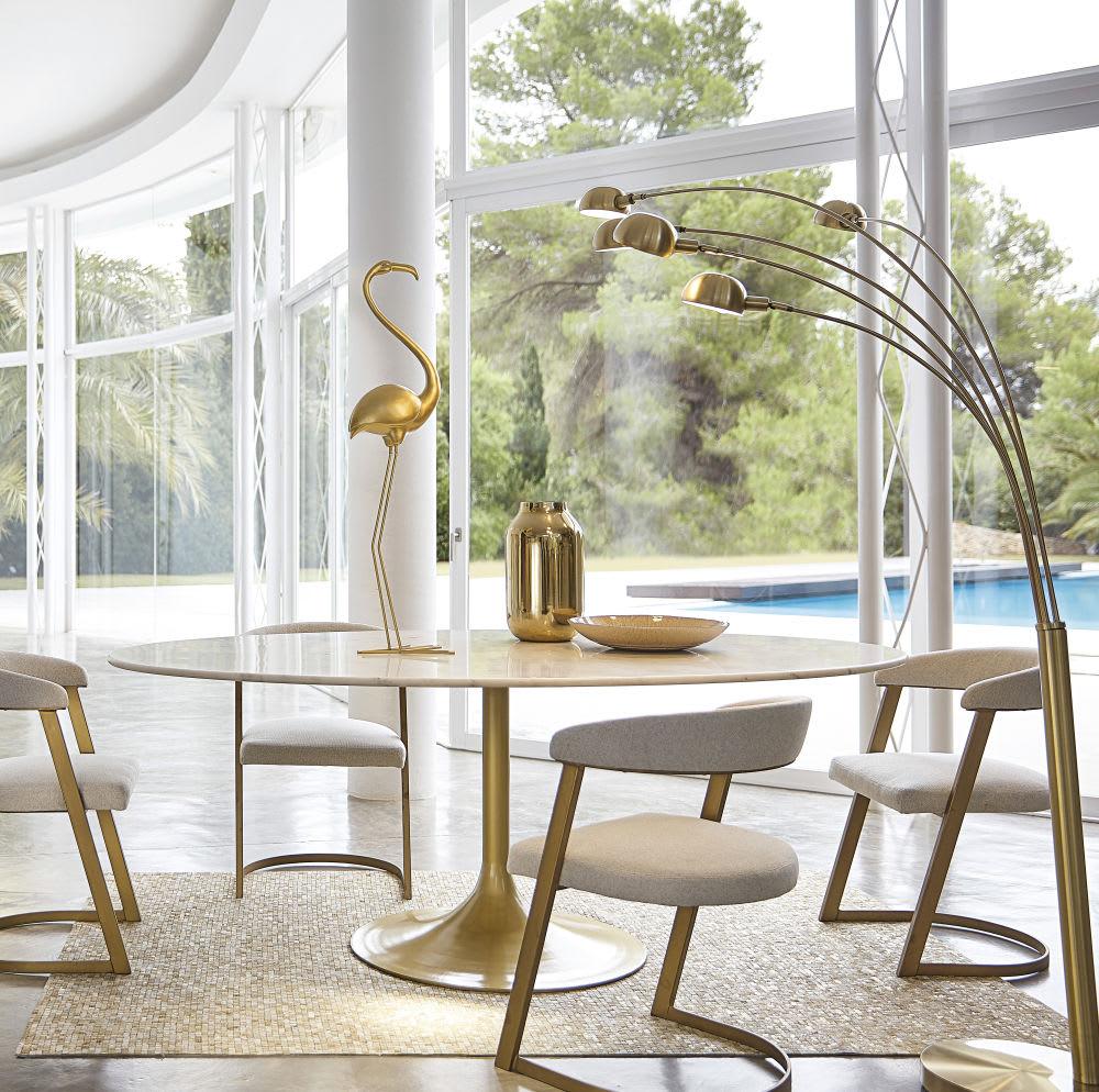 statue flamant rose en m tal dor h100 gold flamingo. Black Bedroom Furniture Sets. Home Design Ideas