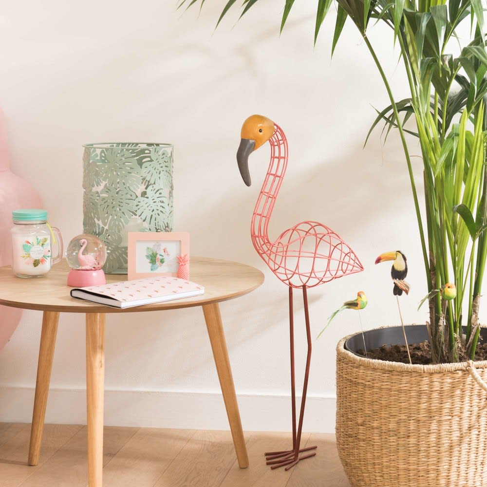 statue flamant rose en m tal h76 lenny maisons du monde. Black Bedroom Furniture Sets. Home Design Ideas
