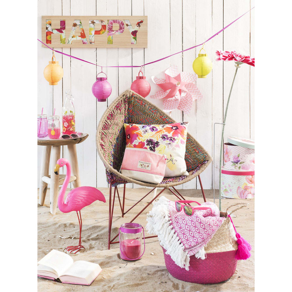 statue flamant rose en plastique rose h 54 cm flamingo. Black Bedroom Furniture Sets. Home Design Ideas