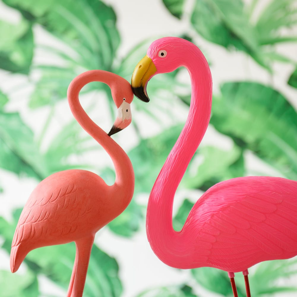 statue flamant rose en plastique rose h 54 cm flamingo. Black Bedroom Furniture Sets. Home Design Ideas