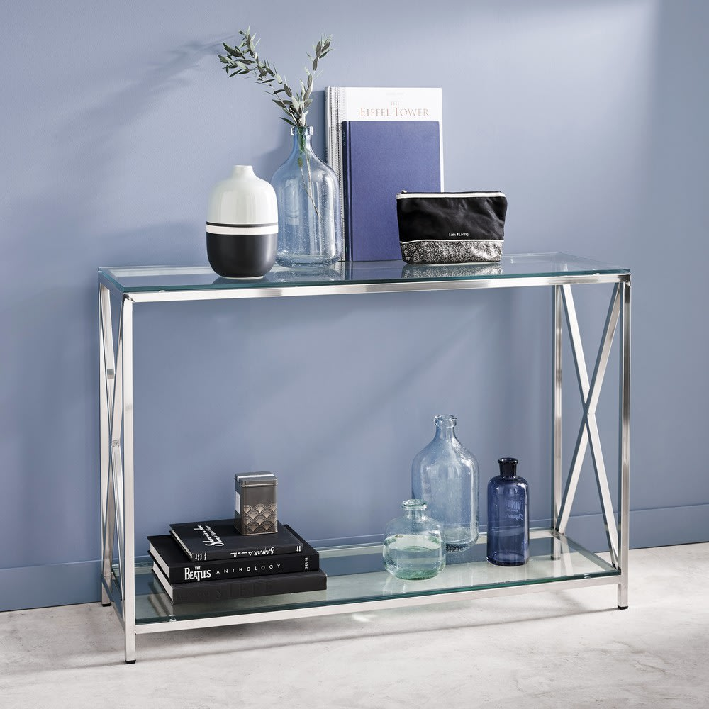 Steel And Glass Console Table In Chrome Finish W 119cm Helsinki