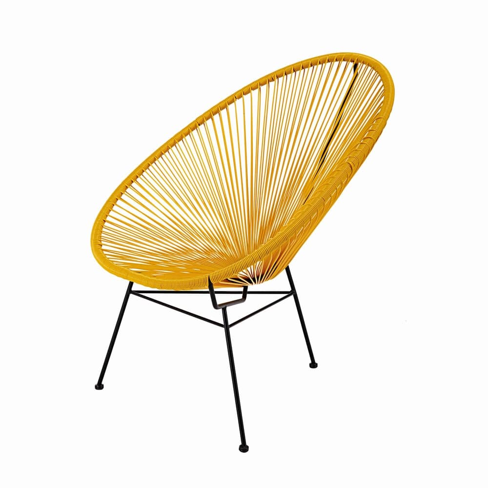 stoel van gespannen mosterdkleurig wickerdraad en zwart. Black Bedroom Furniture Sets. Home Design Ideas
