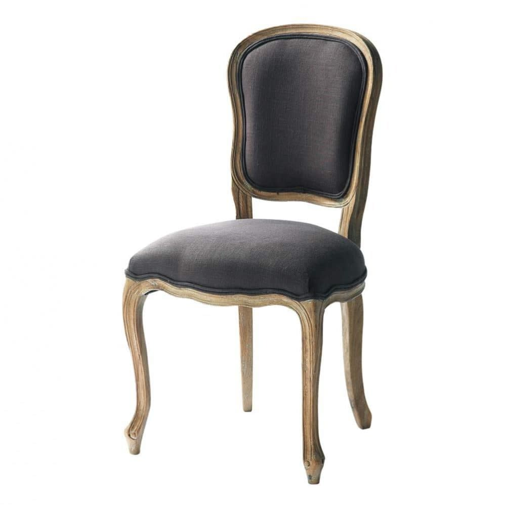 Stuhl Aus Leinen Grautaupe Versailles Maisons Du Monde