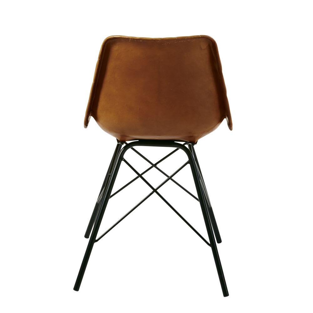 Stuhl Im Industrial Stil Aus Gestepptem Leder Braun