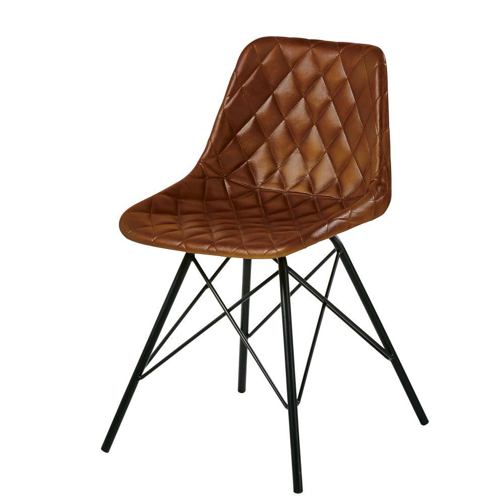 stuhl im industrial stil aus gestepptem leder braun. Black Bedroom Furniture Sets. Home Design Ideas