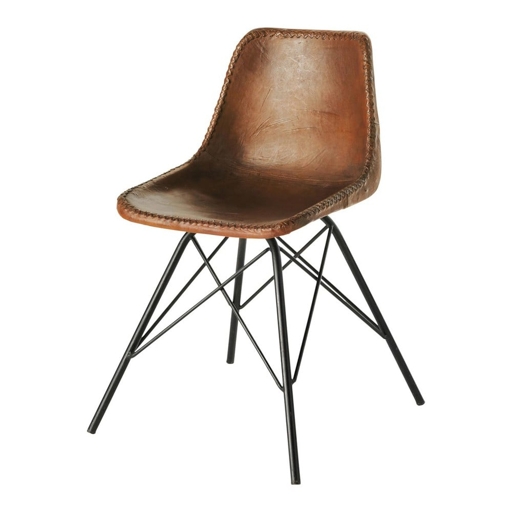 Stuhl Im Industrial Stil Aus Leder Braun Austerlitz Maisons Du Monde