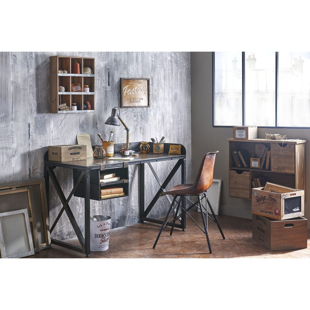 stuhl im industrial stil aus leder braun austerlitz. Black Bedroom Furniture Sets. Home Design Ideas