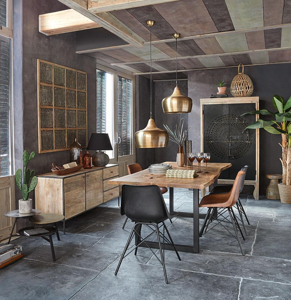 Stuhl Im Industrial Stil Aus Leder Und Metall Schwarz
