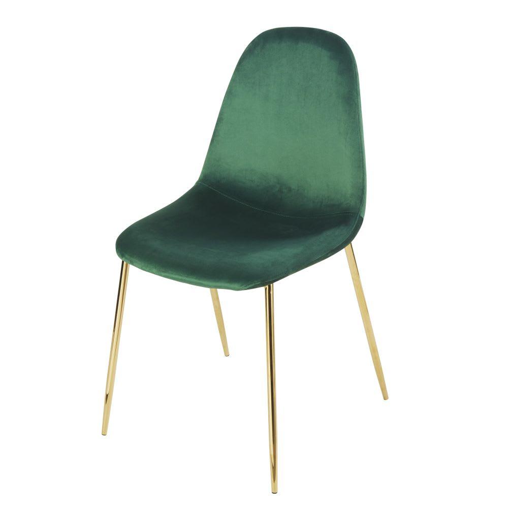 Stuhl Im Skandinavischen Stil Mit Samtbezug Grün