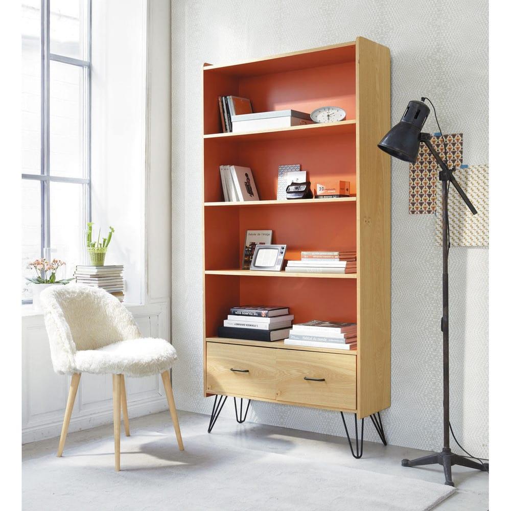 stuhl im vintage stil aus elfenbeinfarbenem kunstfell und. Black Bedroom Furniture Sets. Home Design Ideas