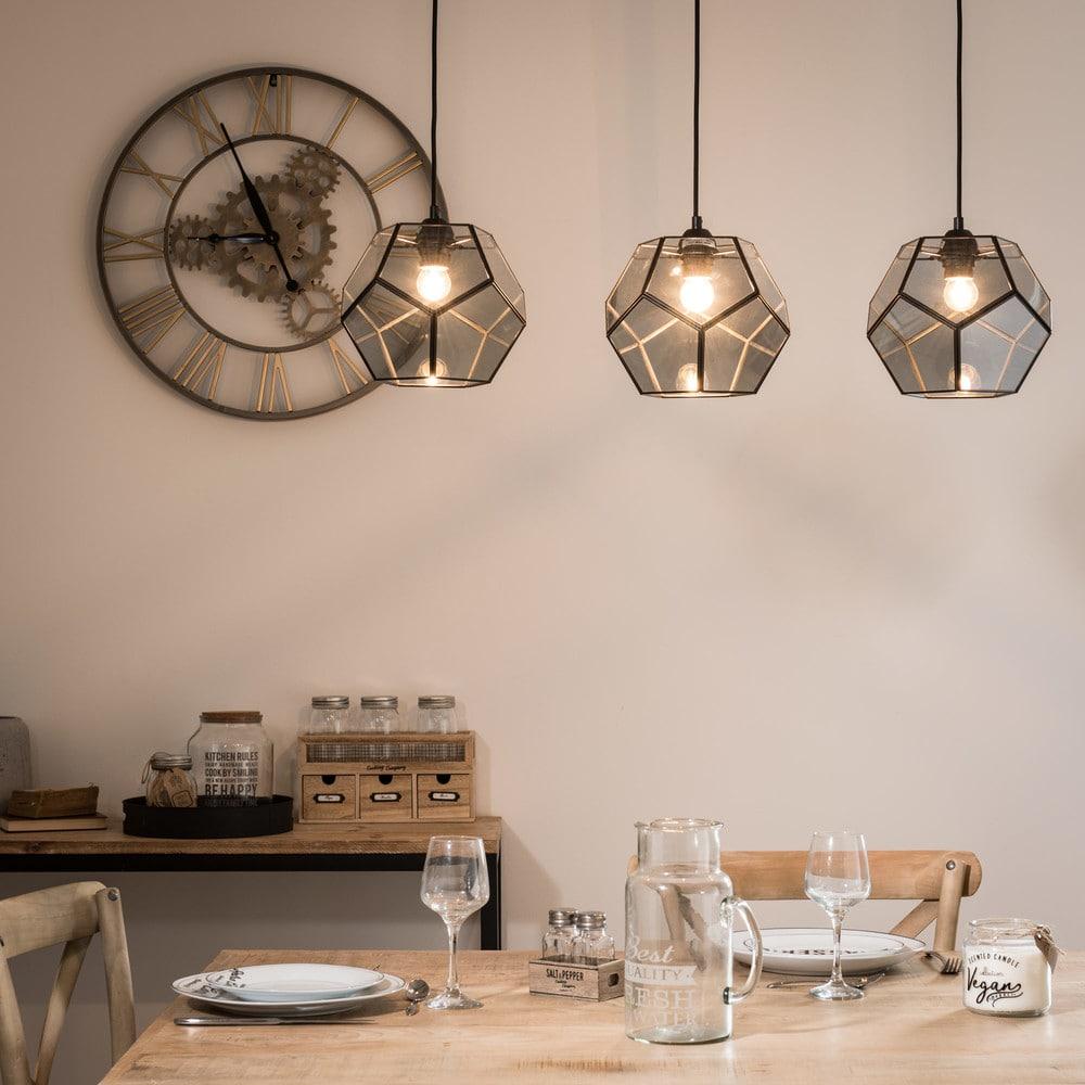 suspension 3 spots en m tal noir et verre fum astro maisons du monde. Black Bedroom Furniture Sets. Home Design Ideas
