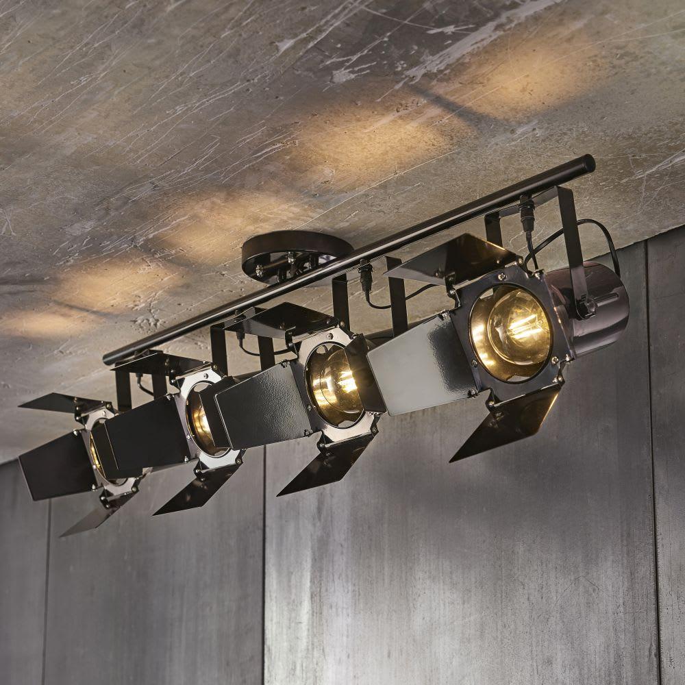 Suspension 4 spots orientables en m tal noir hollywood for Lampada piantana maison du monde