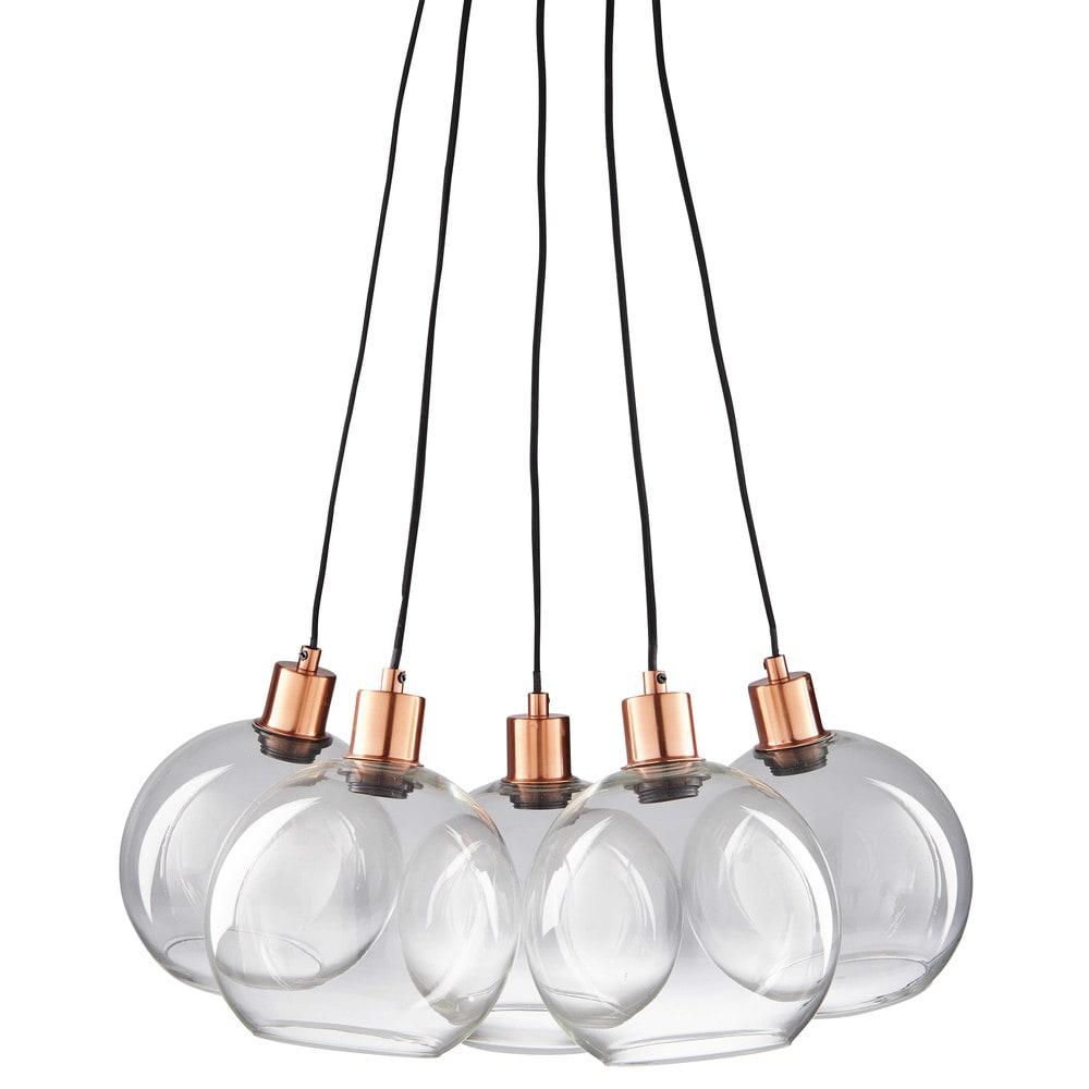 celia - suspension 5 globes en verre et métal cuivré