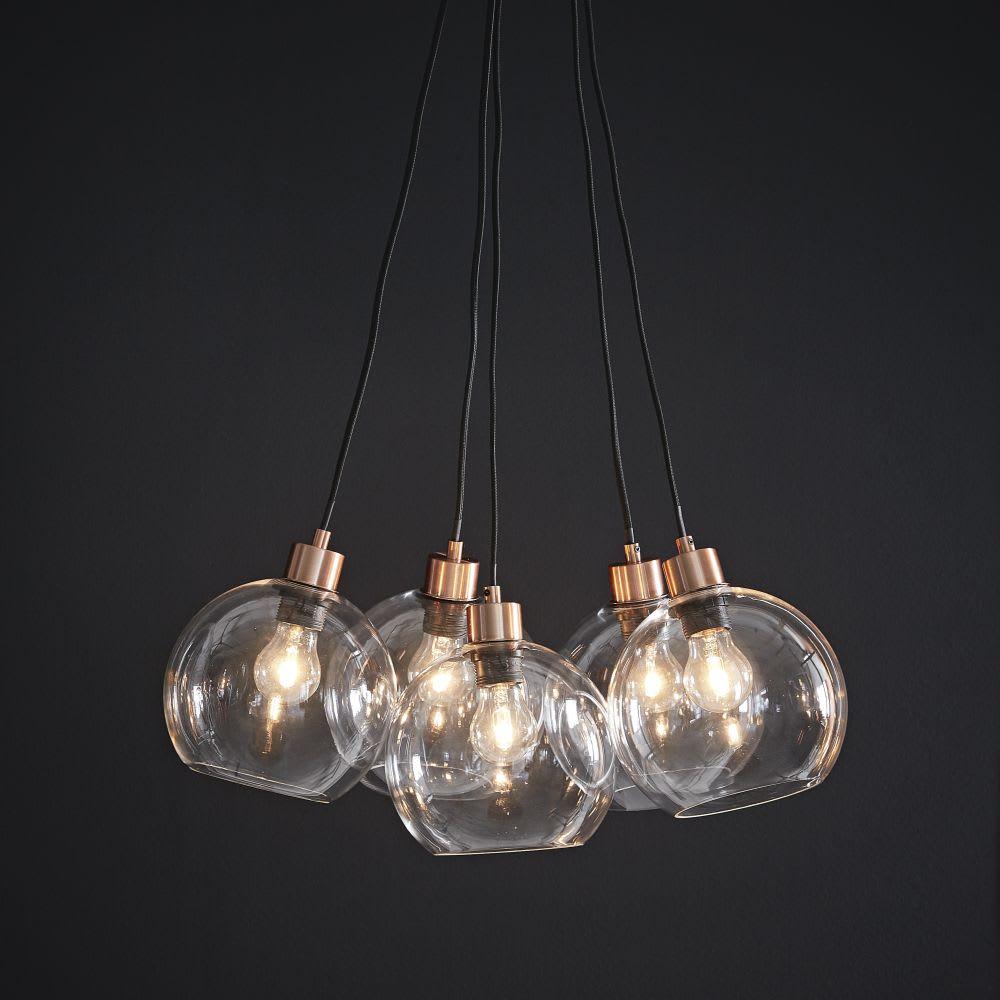 Suspension 5 Globes En Verre Et Metal Cuivre Celia Maisons Du Monde