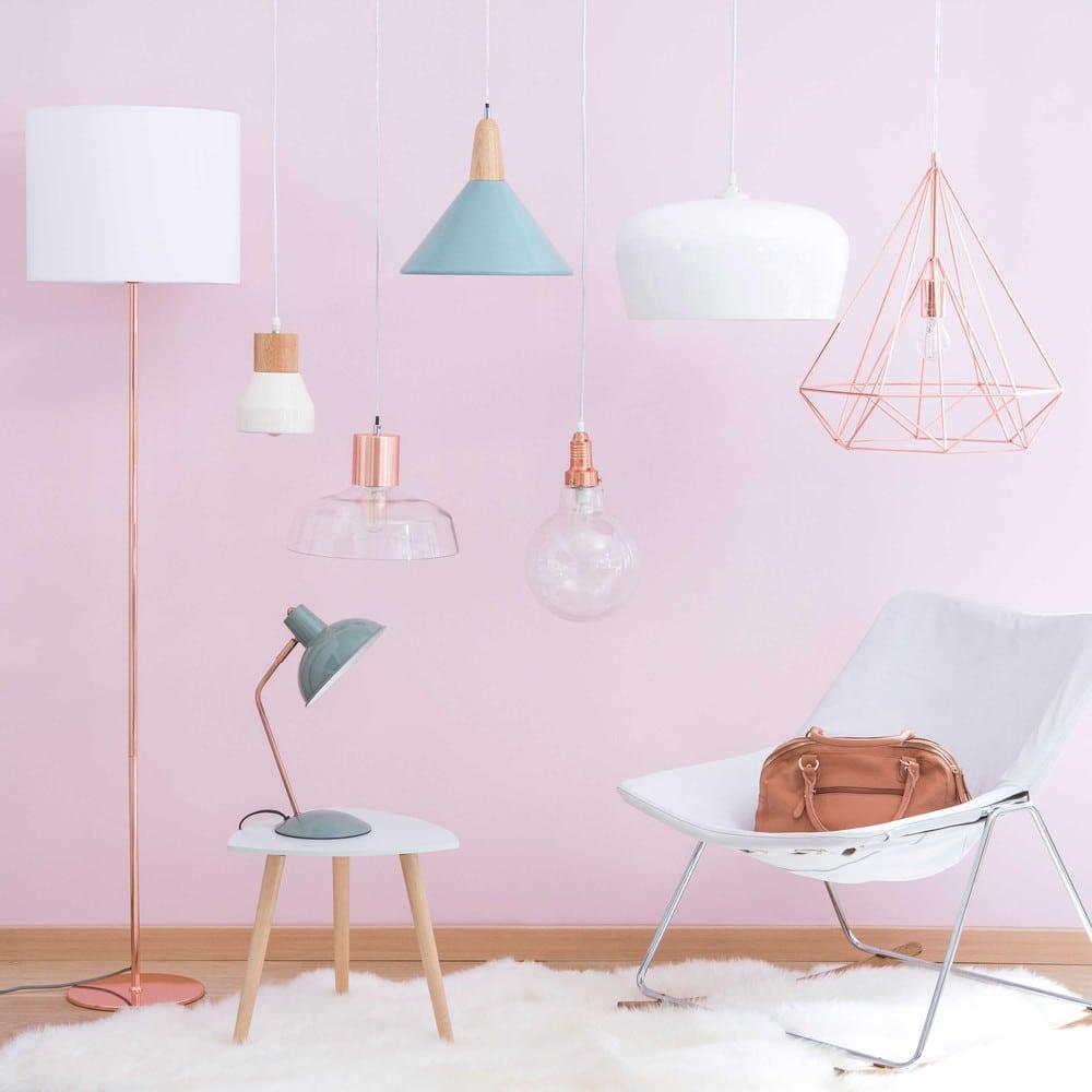 suspension ampoule en verre et m tal cuivr copper maisons du monde. Black Bedroom Furniture Sets. Home Design Ideas