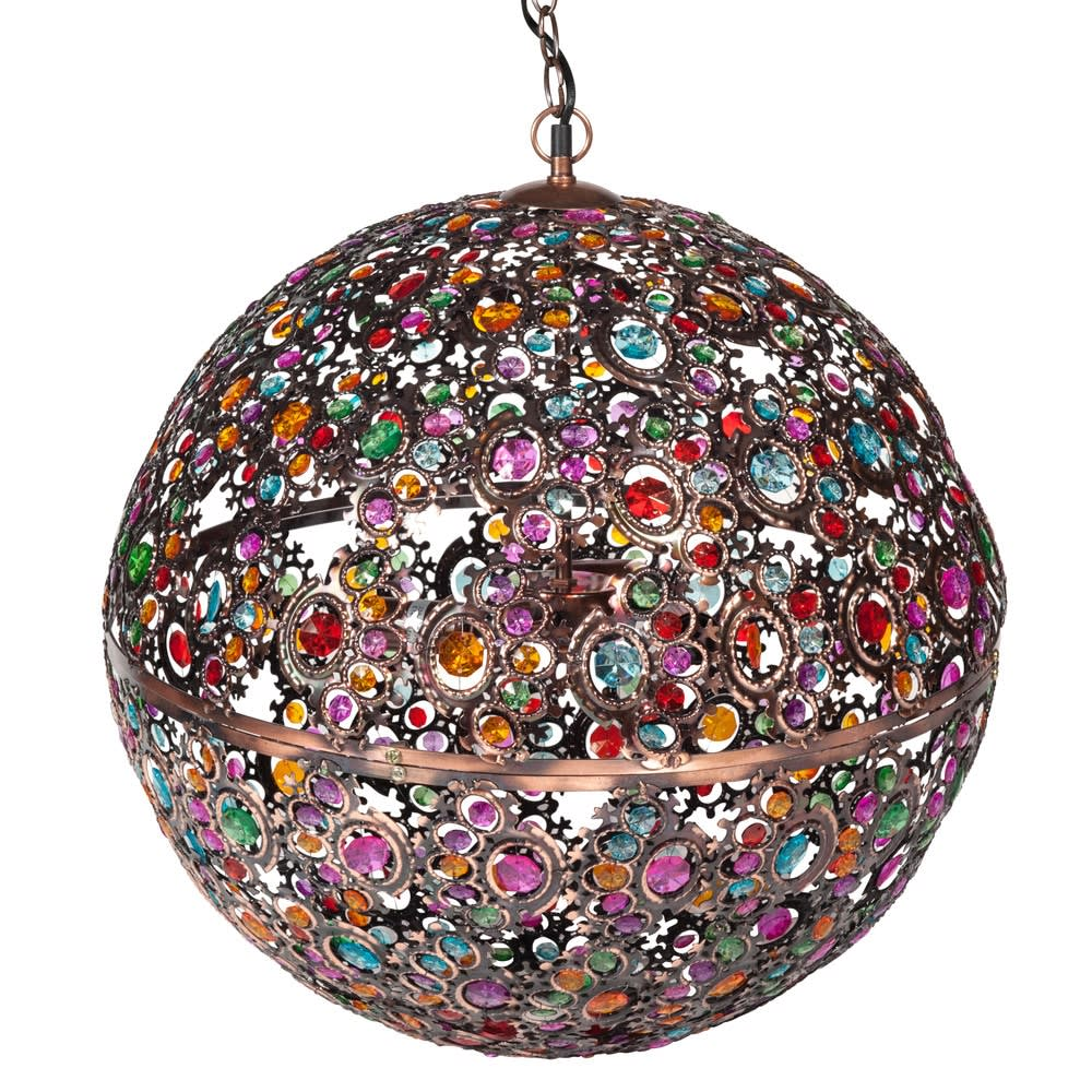 Suspension boule multicolore en métal cuivré Mille Et Une Nuits ...