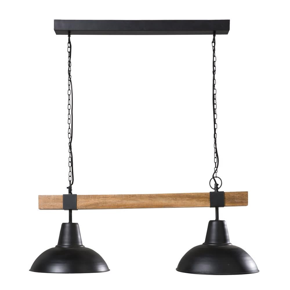 james - suspension double en métal noir et manguier
