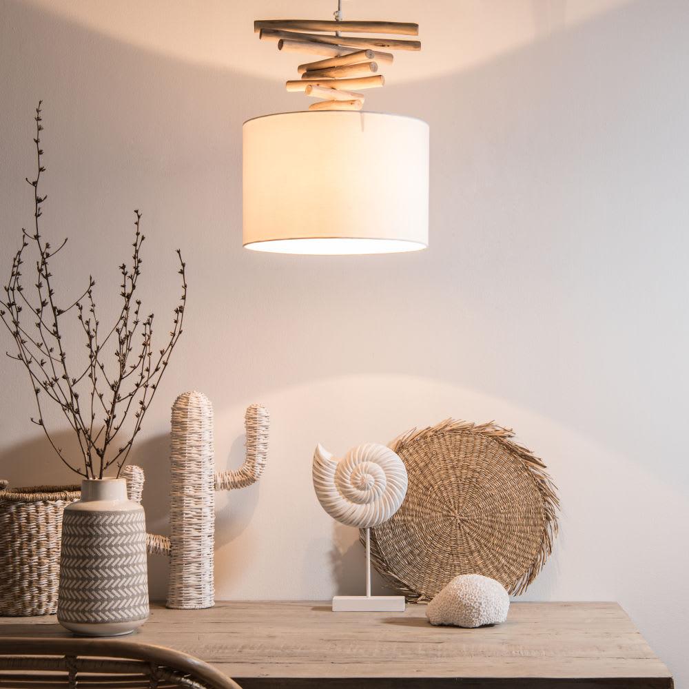 suspension en eucalyptus et abat jour blanc maisons du monde. Black Bedroom Furniture Sets. Home Design Ideas