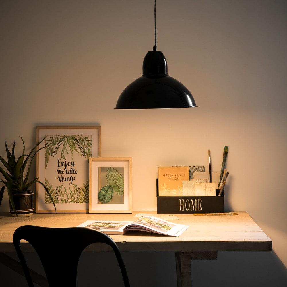 suspension en m tal noir kitchen maisons du monde. Black Bedroom Furniture Sets. Home Design Ideas