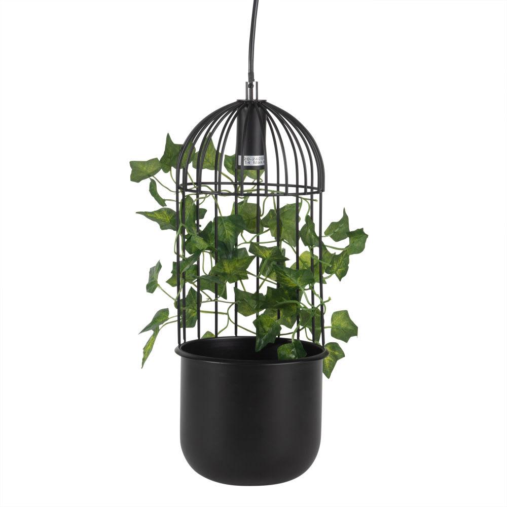 suspension en m tal noir et feuilles de lierres. Black Bedroom Furniture Sets. Home Design Ideas