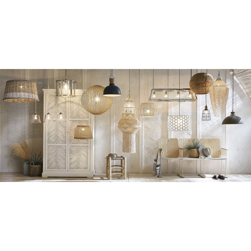 suspension en rotin brehat maisons du monde. Black Bedroom Furniture Sets. Home Design Ideas