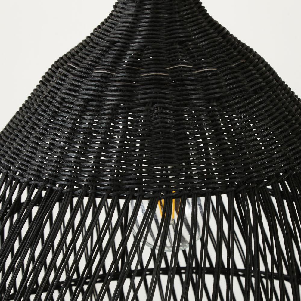 suspension en rotin tress noir mamba maisons du monde. Black Bedroom Furniture Sets. Home Design Ideas
