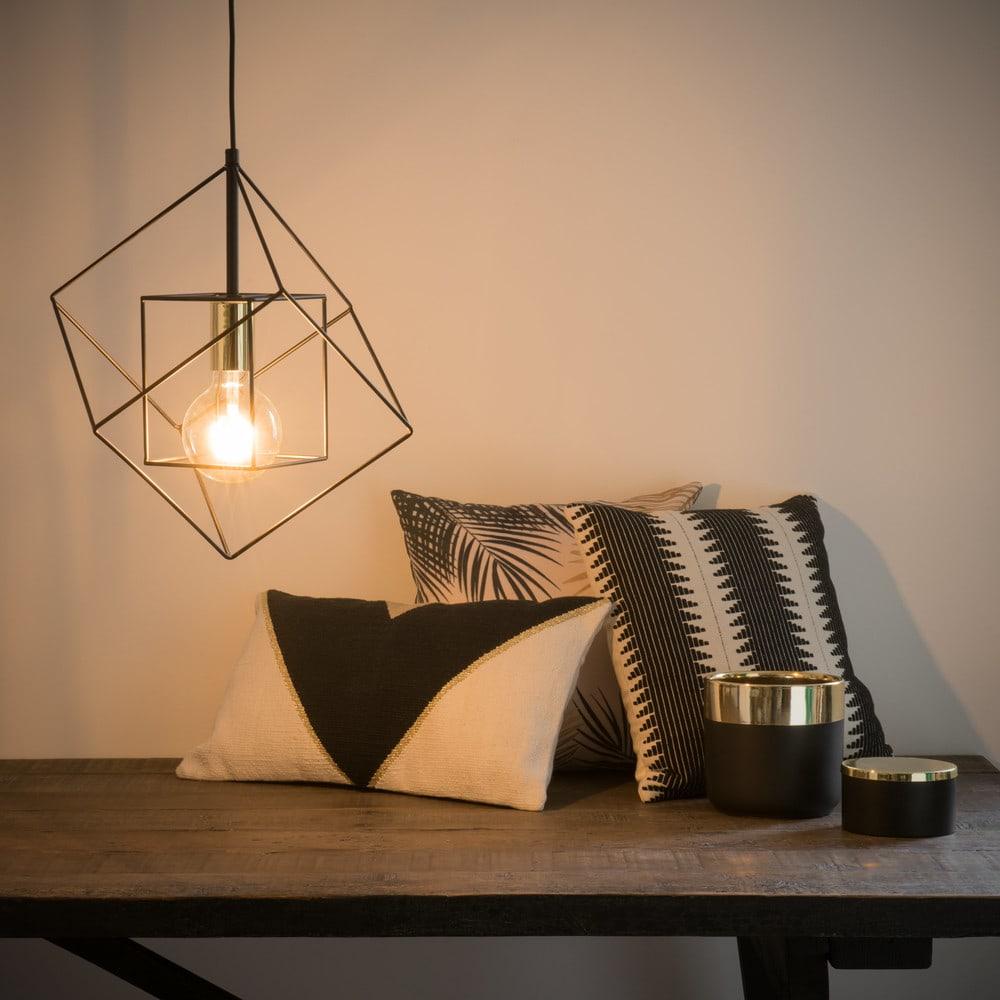 suspension filaire en m tal noir cube maisons du monde. Black Bedroom Furniture Sets. Home Design Ideas