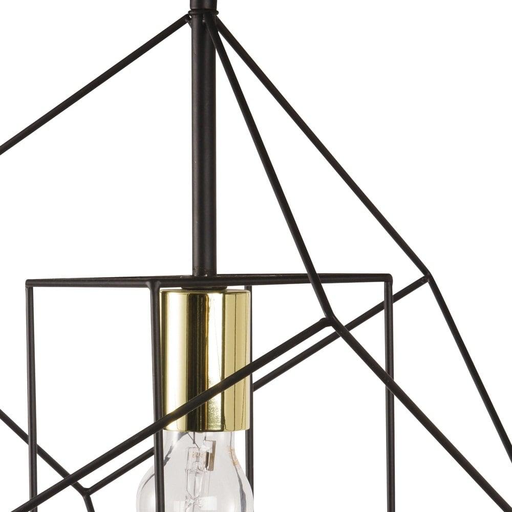 suspension filaire noire et dor e cube maisons du monde. Black Bedroom Furniture Sets. Home Design Ideas