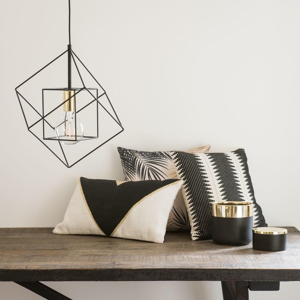 suspension filaire noire et douille dor e cube maisons. Black Bedroom Furniture Sets. Home Design Ideas