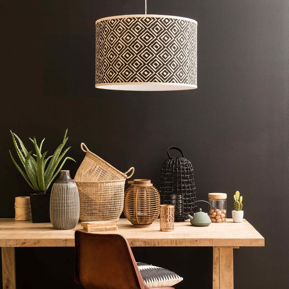 suspension non lectrifi e motifs crus et noirs kasama. Black Bedroom Furniture Sets. Home Design Ideas