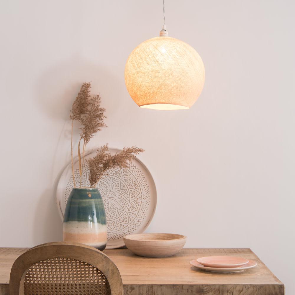 suspension non lectrifi e en coton blanc maisons du monde. Black Bedroom Furniture Sets. Home Design Ideas