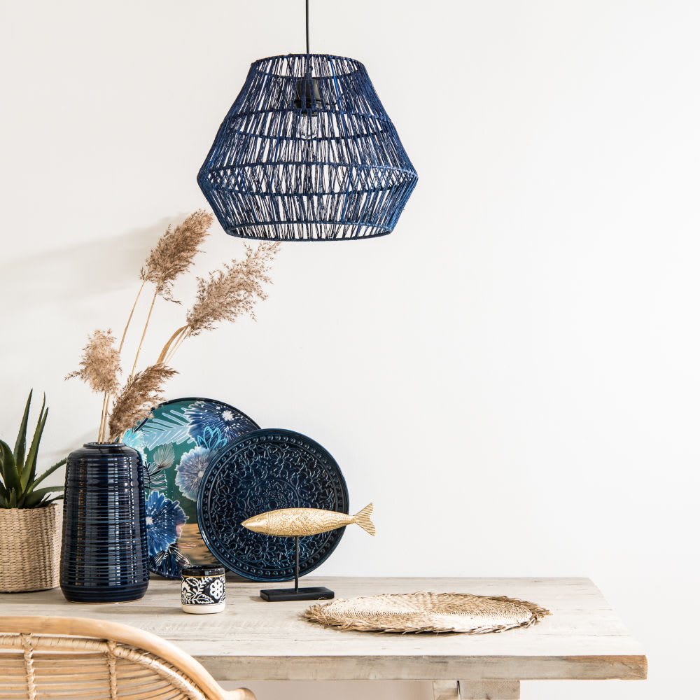 suspension non lectrifi e en fibre v g tale bleue d40. Black Bedroom Furniture Sets. Home Design Ideas