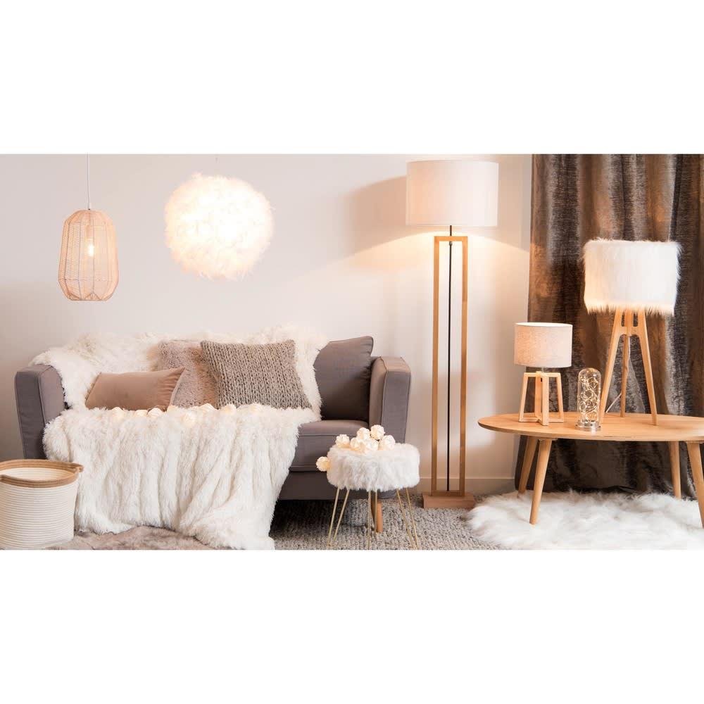 suspension non lectrifi e en plumes blanches feathers. Black Bedroom Furniture Sets. Home Design Ideas