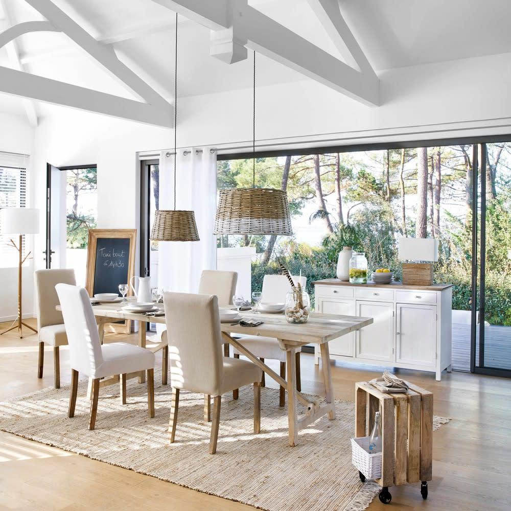 suspension non lectrifi e en rotin gris d 45 cm. Black Bedroom Furniture Sets. Home Design Ideas