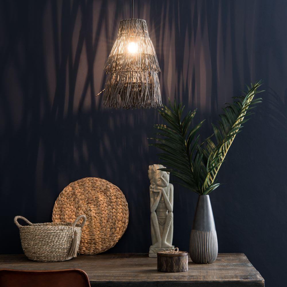 suspension non lectrifi e en rotin noir d23 manava. Black Bedroom Furniture Sets. Home Design Ideas