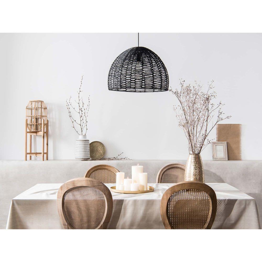suspension non lectrifi e en rotin noir d50 kendhua. Black Bedroom Furniture Sets. Home Design Ideas