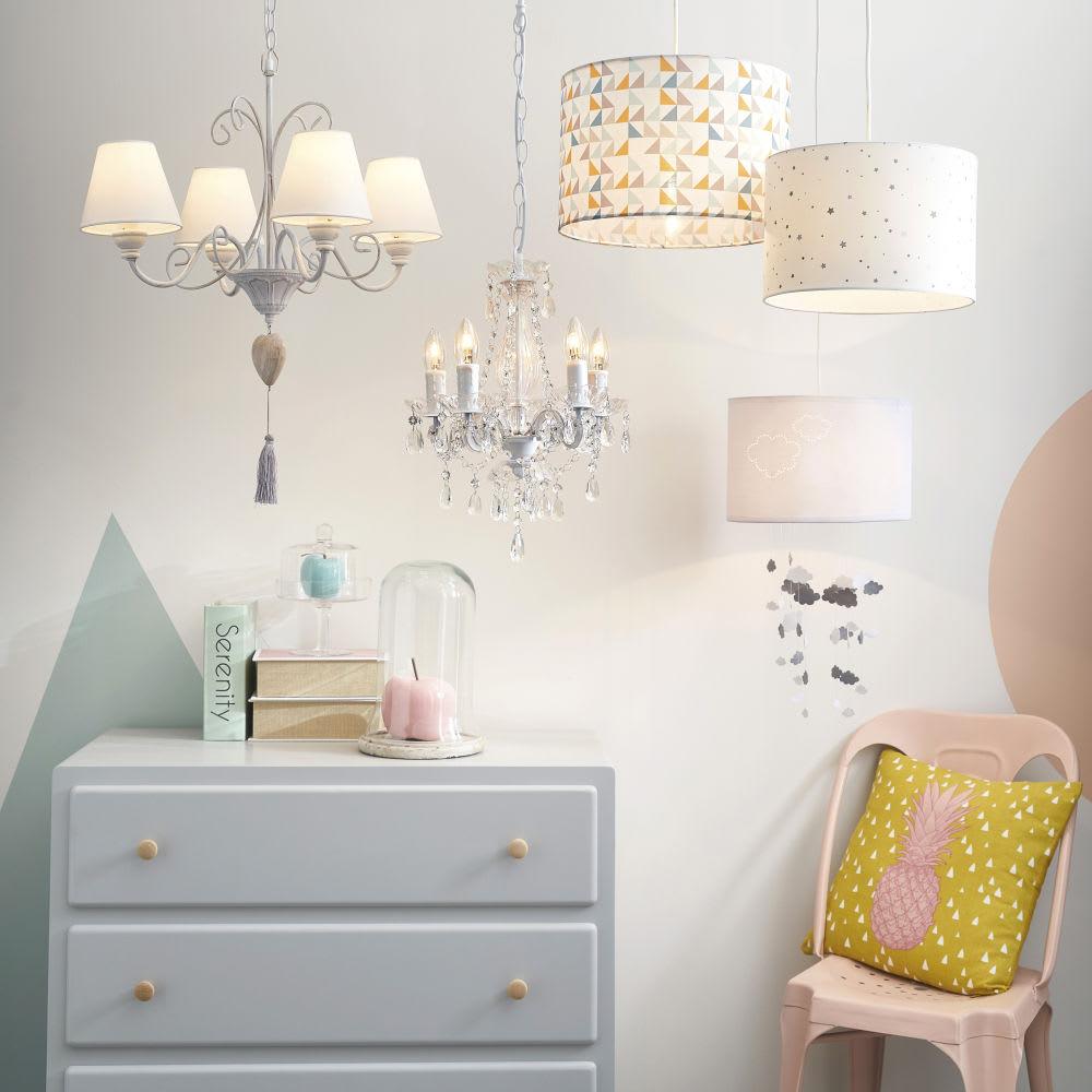 suspension non lectrifi e en tissu blanche d 30 cm songe. Black Bedroom Furniture Sets. Home Design Ideas