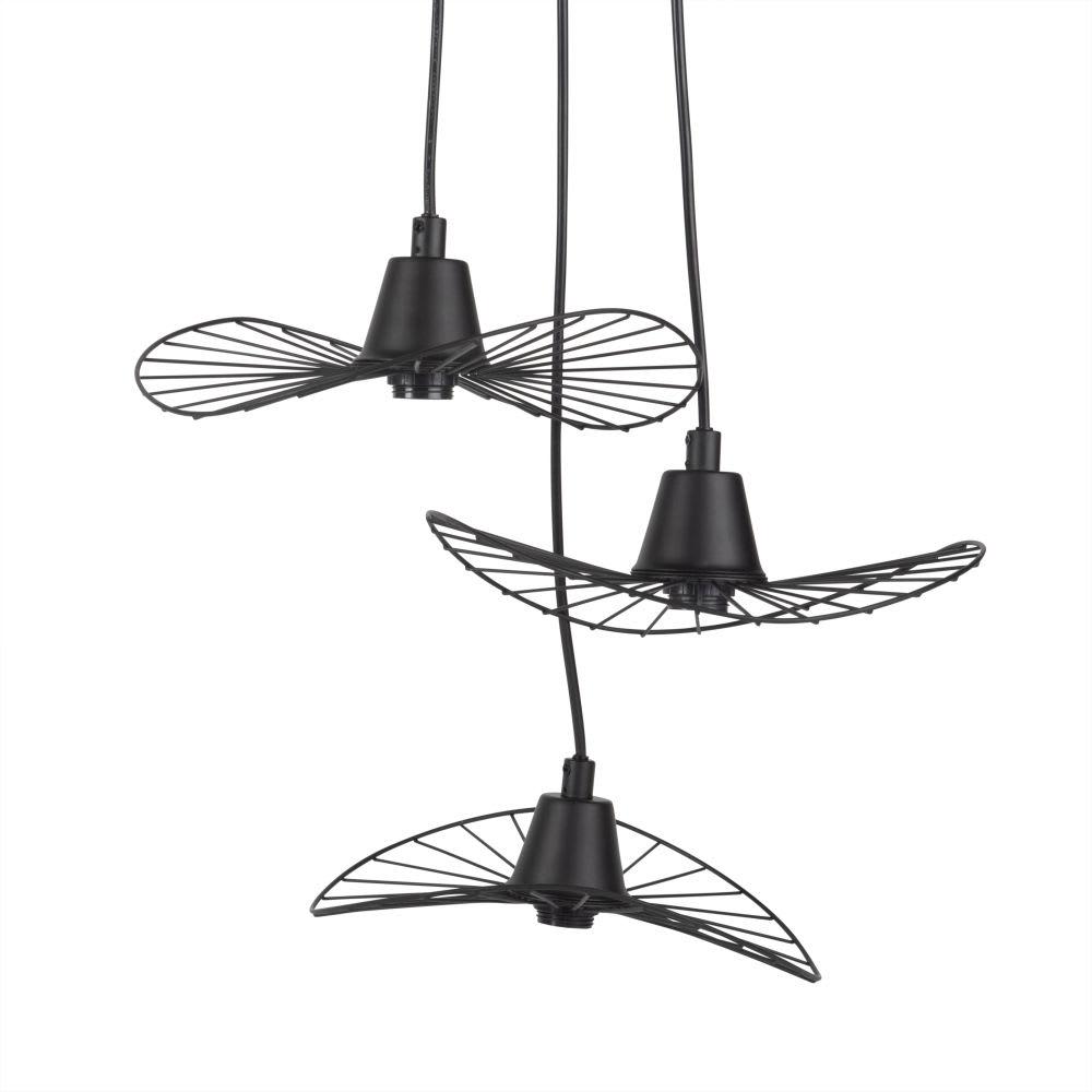suspension triple ombrelles en m tal noir maisons du monde. Black Bedroom Furniture Sets. Home Design Ideas